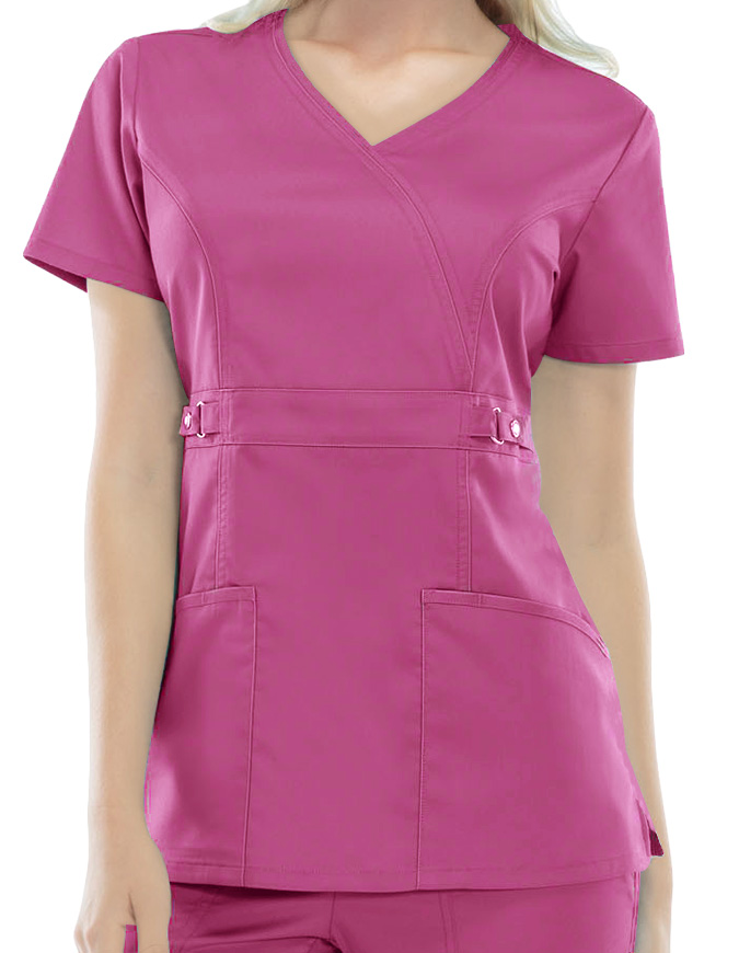Cherokee Luxe Junior Two-Pocket Mock Wrap Scrub Top