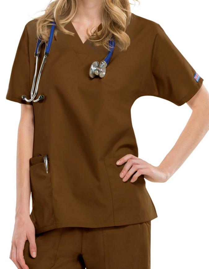 Cherokee Workwear Women Two Patch Pockets Nurse Scrub Top