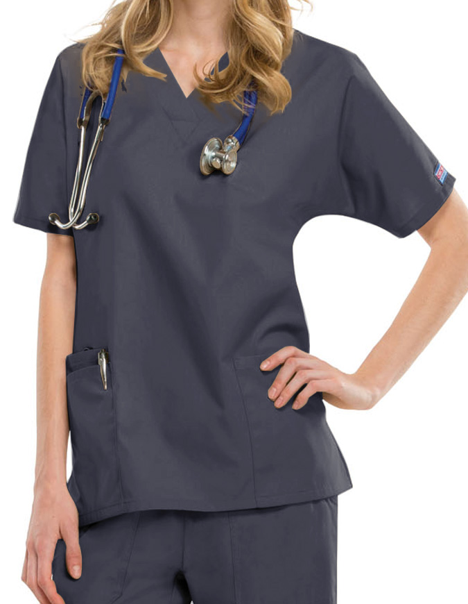 Cherokee Workwear Women Two Patch Pockets Nurse Scrub Top