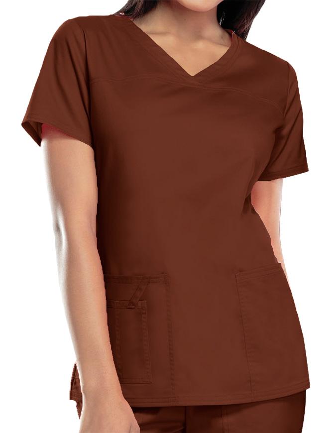 Cherokee Workwear Womens Mock Wrap Scrub Top