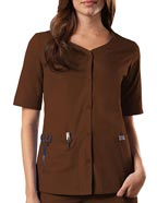 CH-4730 : Cherokee Workwear Womens Three Pocket Button Up V- Neck Top
