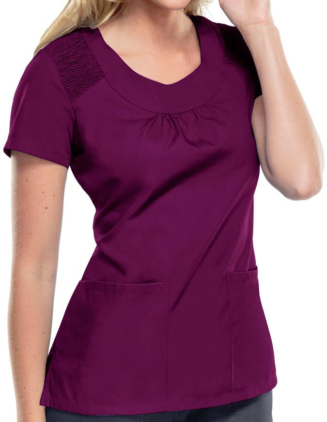Cherokee Workwear Women Two Pocket U-Neck Top