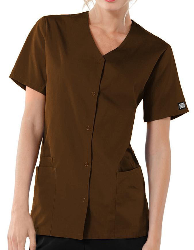 Cherokee Workwear Women Short Sleeve Snap Scrub Top