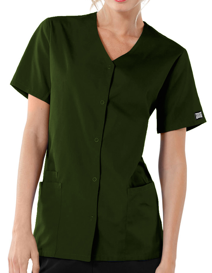 Cherokee Workwear Women Short Sleeve Snap Scrub Top