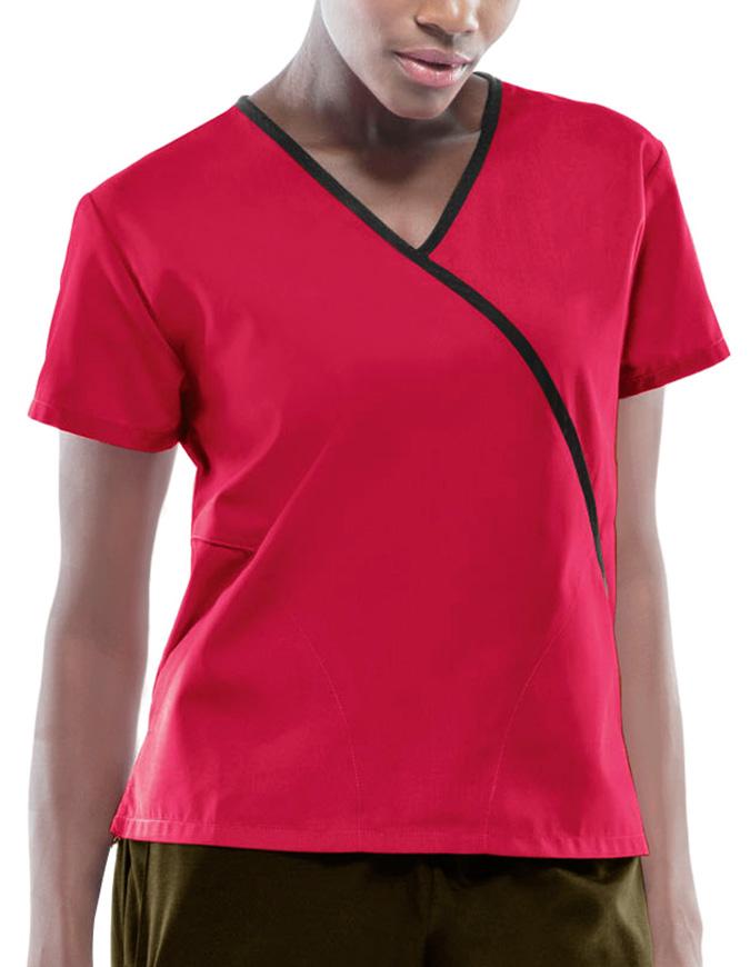 Cherokee Workwear Women Two Pocket Mock Wrap Top