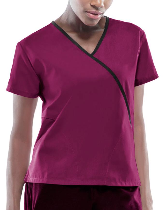 Cherokee Workwear Women's Two Pocket Mock Wrap Top