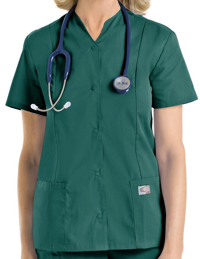 Landau ScrubZone Women Snap Front Notch Neck Nurse Scrub Top