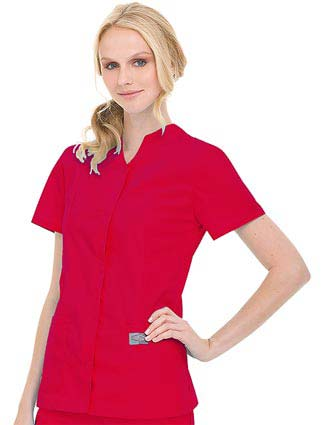 Landau ScrubZone Women Snap Front Notch Neck Nurse Scrub Top