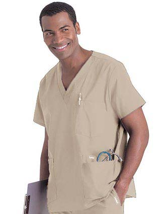 Landau Men's Multiple Pockets V-Neck Solid Nurse Scrub Top
