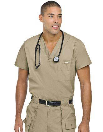 Landau Platinum Mens Single Pocket Vented Solid Nurse Scrub Top