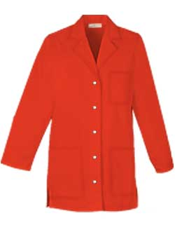 Womens 32 inch Three Pocket Snap Front Colored Lab Coat