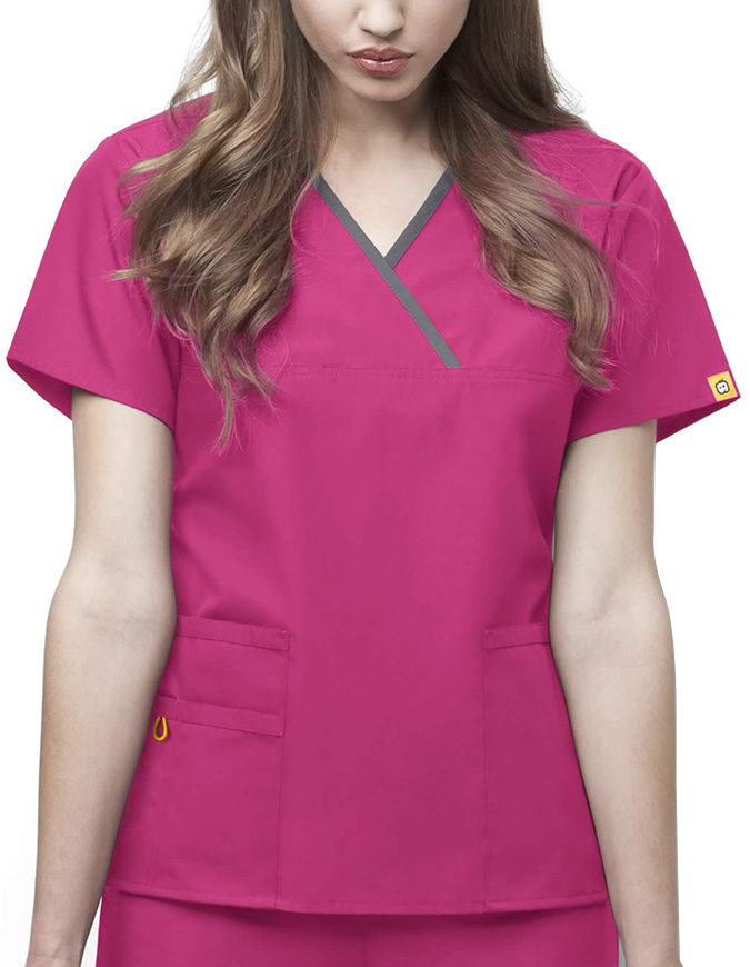 Wink Scrubs Origins Lady Fit Y-Neck Mock Wrap Scrub Top