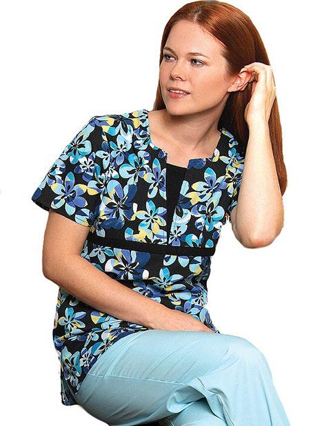 Adar Womens Split V Midnight Rose Printed Tunic Nurse Scrub Top