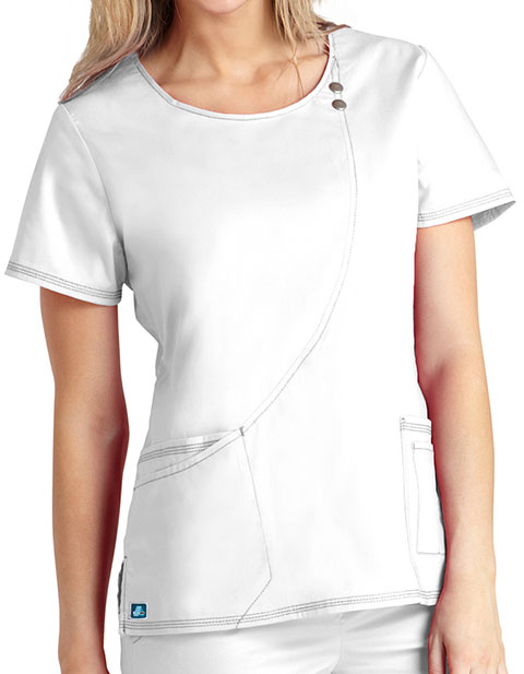 Adar Pop-Stretch Junior Fit Taskwear Curve Line Scrub Top