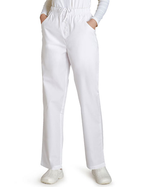 Adar Womens Two Pocket Mock Fly Petite Medical Scrub Pants