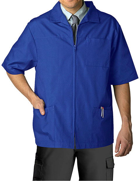 Adar Men Zippered Short Sleeve Multi Pocket Scrub Jacket