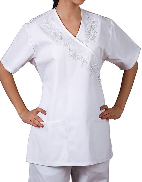 Adar Women Nursing Scrubs Mock Wrap Front Scrub Top
