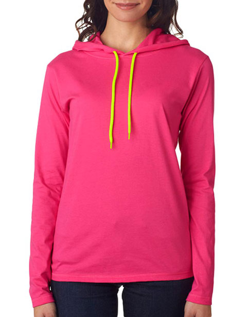 Anvil Ladies' Lightweight Long-Sleeve Cotton Hooded Tee