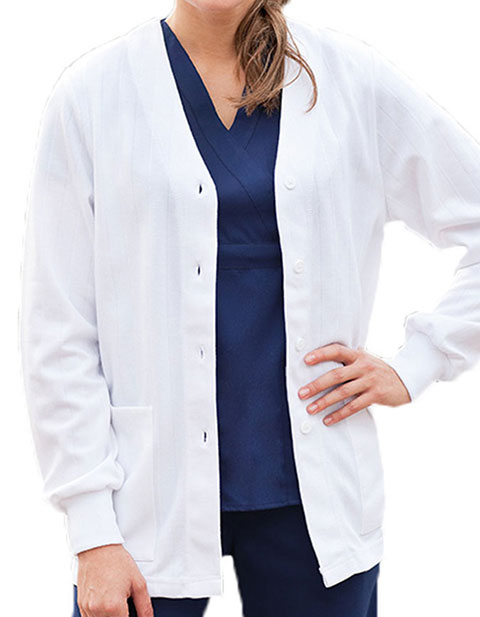 Barco Prima Women Four Button Front White Warm-Up Jacket
