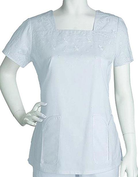 Buy Barco Prima Women Embroidered Square Neck Scrub Top