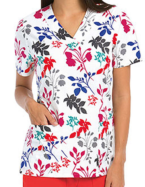 Barco ICU Womens V-Neck Water Lilly Printed Scrub Top