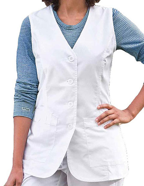Barco Prima Women Button Front White Medical Vest