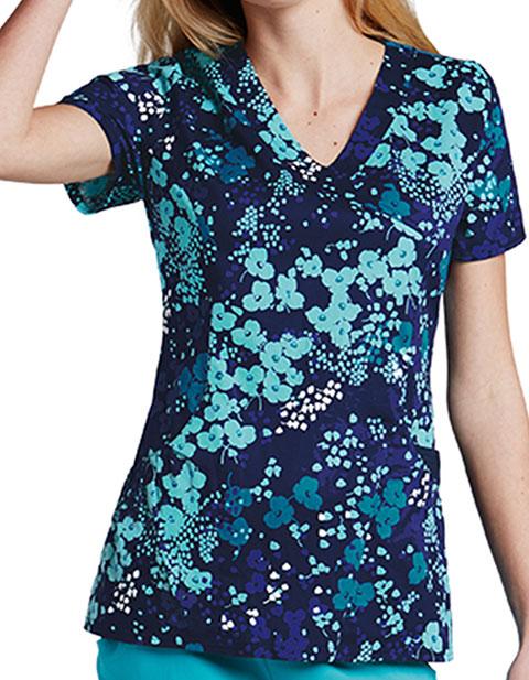 Barco KD110 Women's Flora Mockwrap Printed Scrub Top