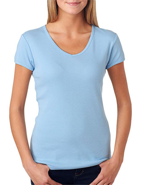 1005 Bella+Canvas Ladies' Baby Rib Short-Sleeve V-Neck Tee