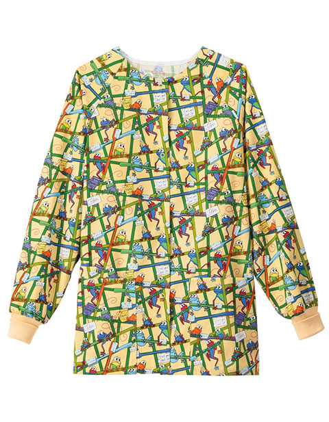 Bio Women's Raglan Sleeves Frog Print Warm-Up Jacket