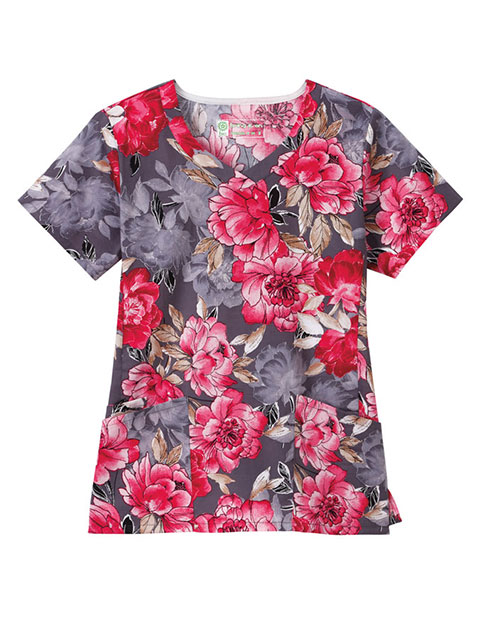 Bio Women's Side Vent Floral Print V-Neck Top