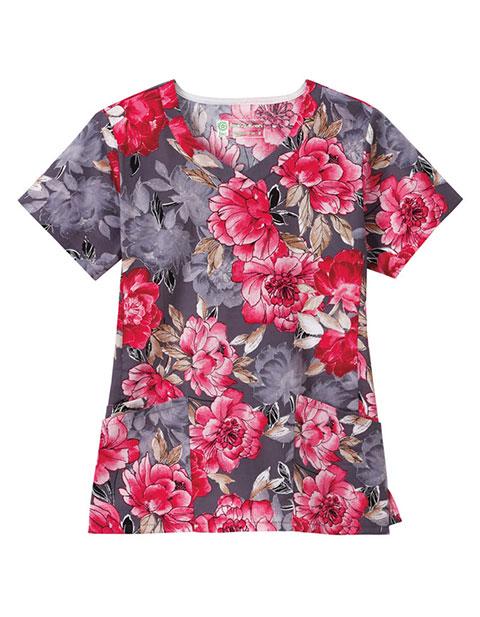 Bio Women'S Angle Pocket Floral Print V-Neck Top