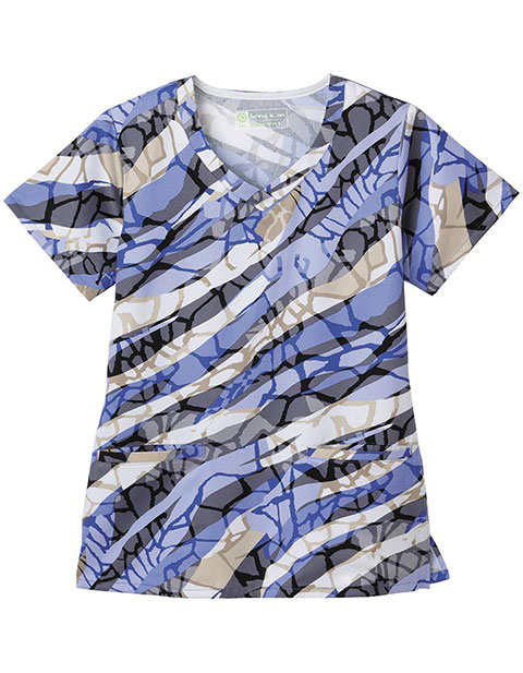 Bio Prints Women's Overlap Reflections V-Neck Top