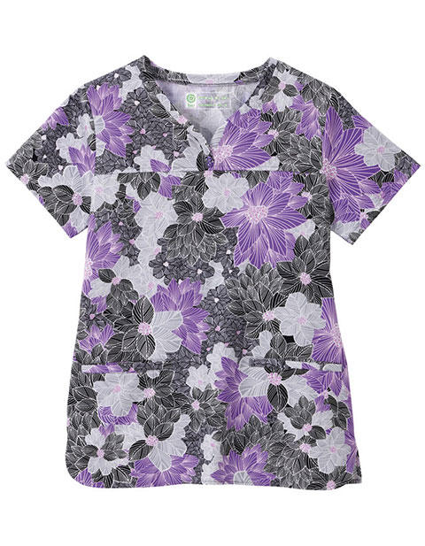 Bio Women's Shaped Neckline Floral Print Top