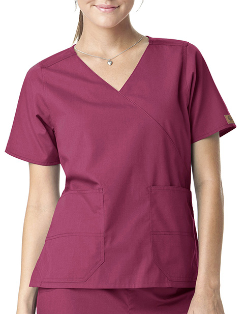 Carhartt Women Mock Wrap Two-Pocket Scrub Top