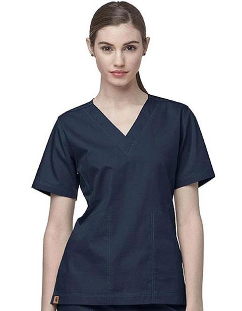 Carhartt Scrubs Women Two-Pocket V-Neck Solid Nursing Top