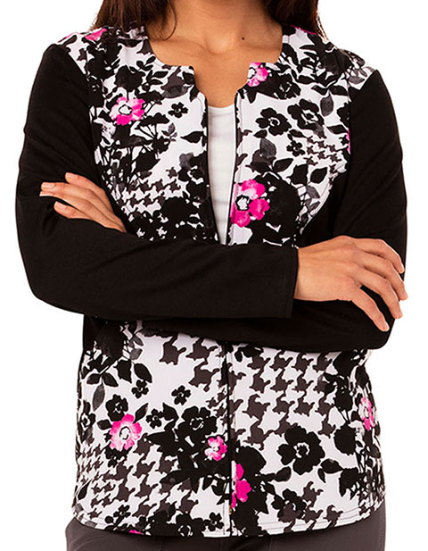 Careisma Fiercely Flawless Women's Zip Front Flower Ever Your Girl Printed Scrub Jacket