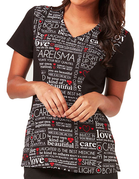 Careisma You're My Inspiration Women's Manifesto Black V-Neck Printed Top