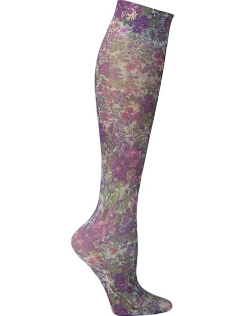 Celeste Stein Women's Knee High 8-15 mmHg Compression Purple Tapestry Hoisery
