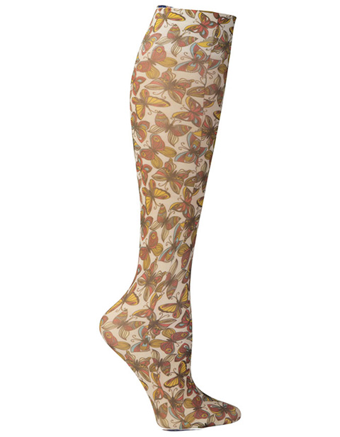 Celeste Stein Women's Knee High 8-15 mmHg Compression Vintage Butterflies Hoisery
