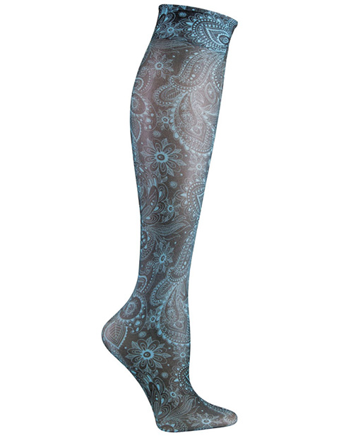 Celeste Stein Women's Knee High 8-15 mmHg Compression Turquoise Paisley Hoisery