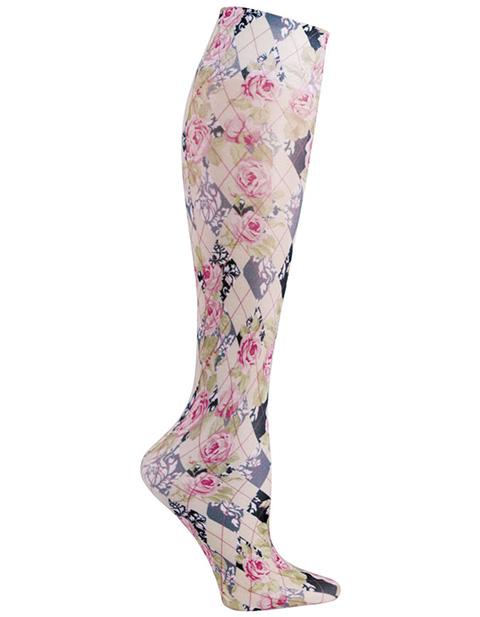 Celeste Stein Women's Knee High 8-15 mmHg Compression Harlequin Roses Hoisery