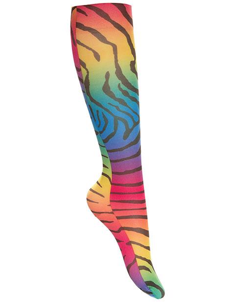 Celeste Stein Women's Rainbow Zebra Knee High