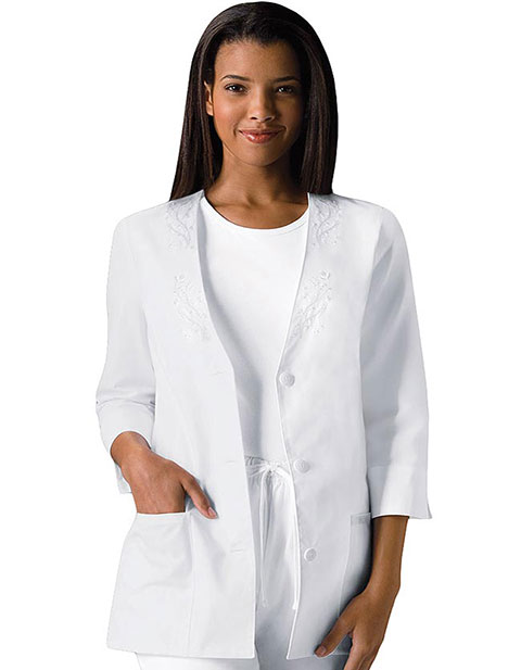 Cherokee Whites Womens Two Pocket Three Quarter Sleeve Jacket
