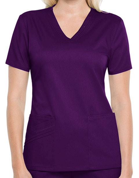 Cherokee Luxe Women Solid V-neck Nursing Scrub Top