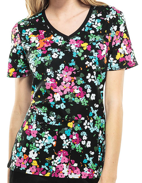 Cherokee Escape Into Nature Women's Petal Pizzazz V-Neck Knit Panel Top
