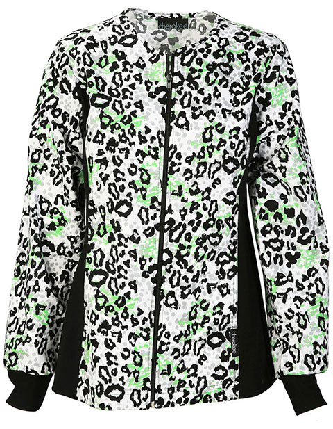 Cherokee Escape Into Nature Women's Zip Front Go Fur It Printed Scrub Jacket