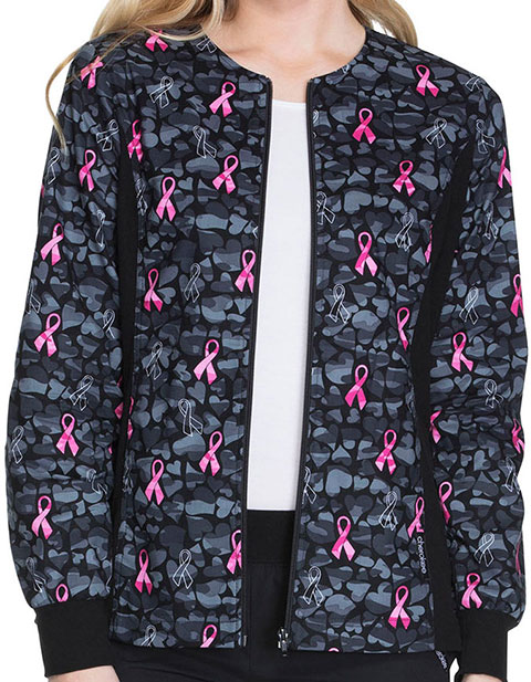 Cherokee Love Is Blooming Women's Zip Front Knit Panel Warm-Up Jacket