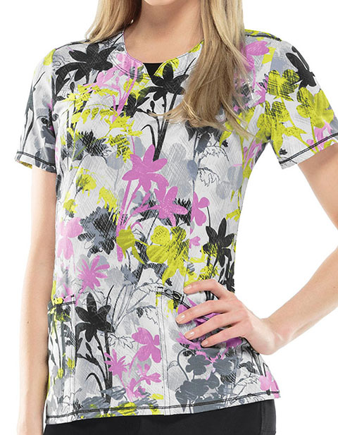 Cherokee Paradise Jungle Women's Tropical Tendencies Round Neck Top