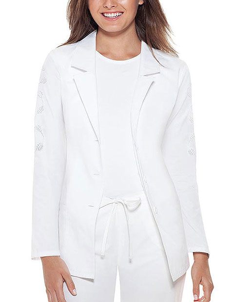 Buy Baby Phat Women Embroidered Notched Lapel Medical Lab
