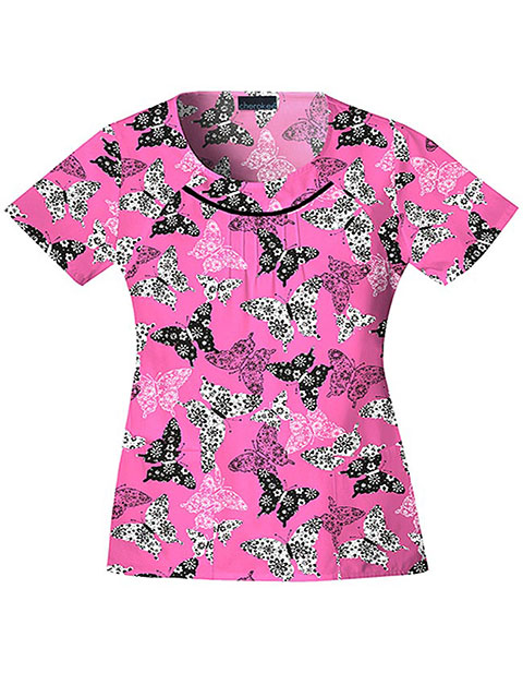 Cherokee Body Womens Two Pocket Be My Butterfly Round Neck Print Scrub Top